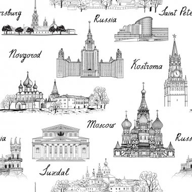 Russia seamless engraved architectural pattern