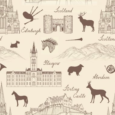 Scotland cities landmarks with handmade calligraphy.