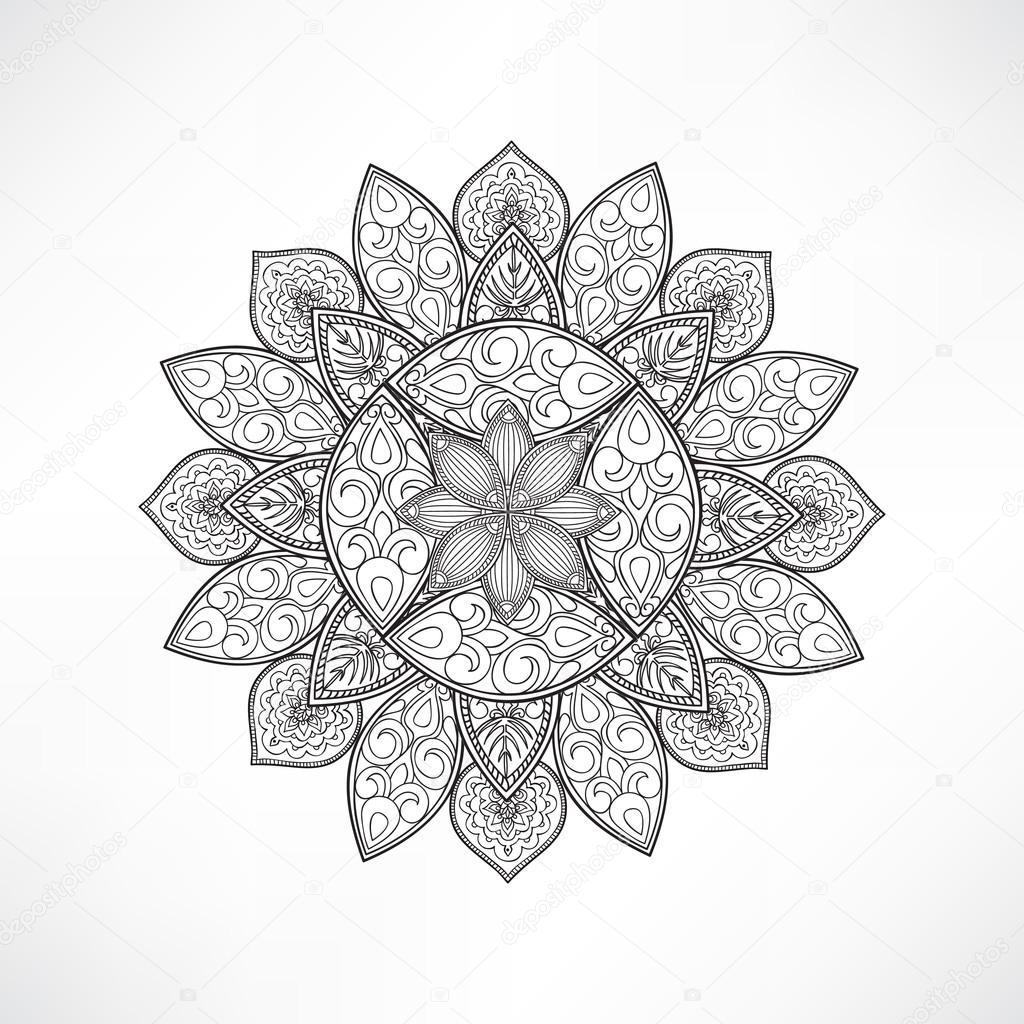 Flor oriental contorno geométrico — Archivo Imágenes Vectoriales ...