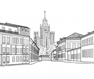 Travel Russia engraving skyline