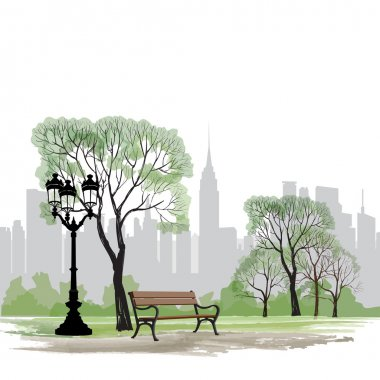 Bench and streetlight in park over city background.