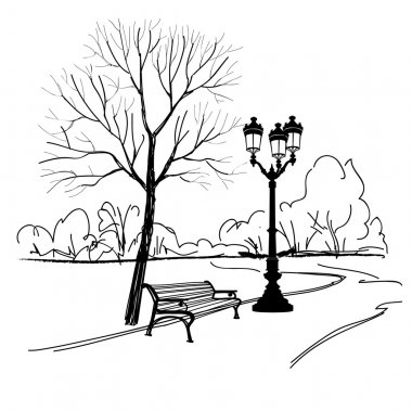 Bench in  park with tree and streetlamp.