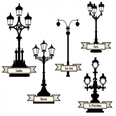 Street lamp label set. Street lights of London, PAris, New-York, Moscow, St Petersburg retro collection