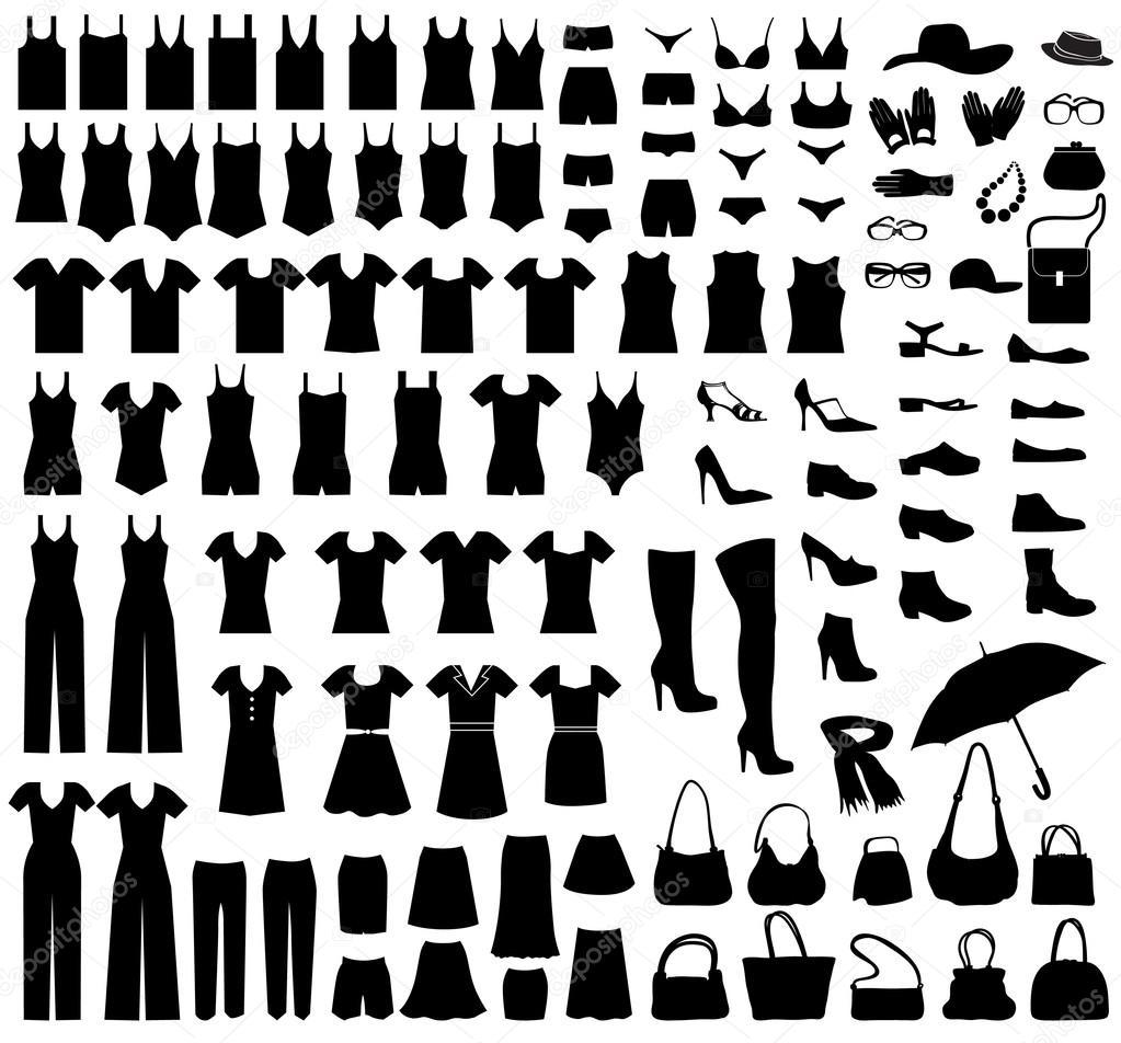 7082dd648 Conjunto de ícones de moda. coleção feminina de pano e acessórios. vestido  silhueta — Vetor por ...
