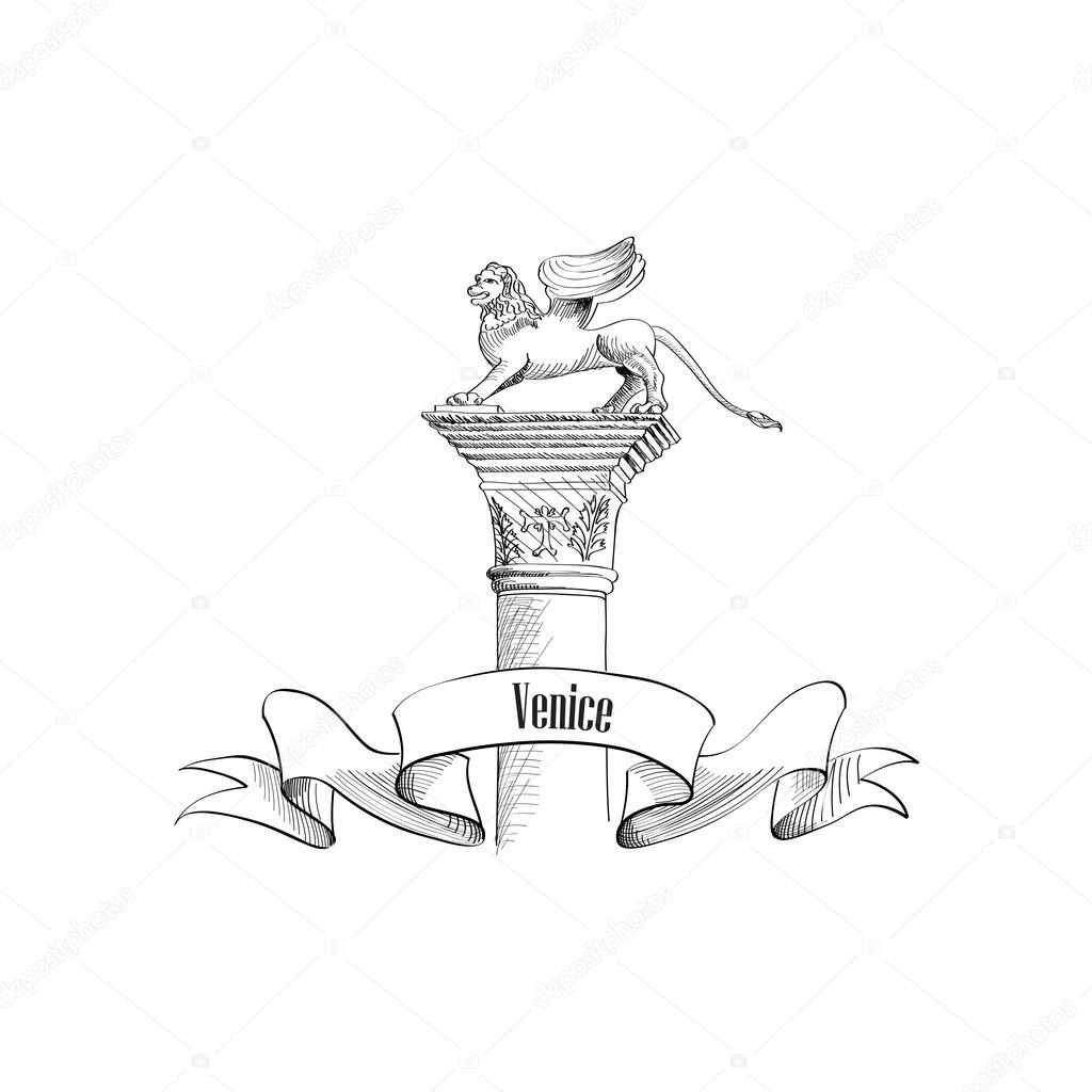 Venice citiy symbol Sa Marco on statue.