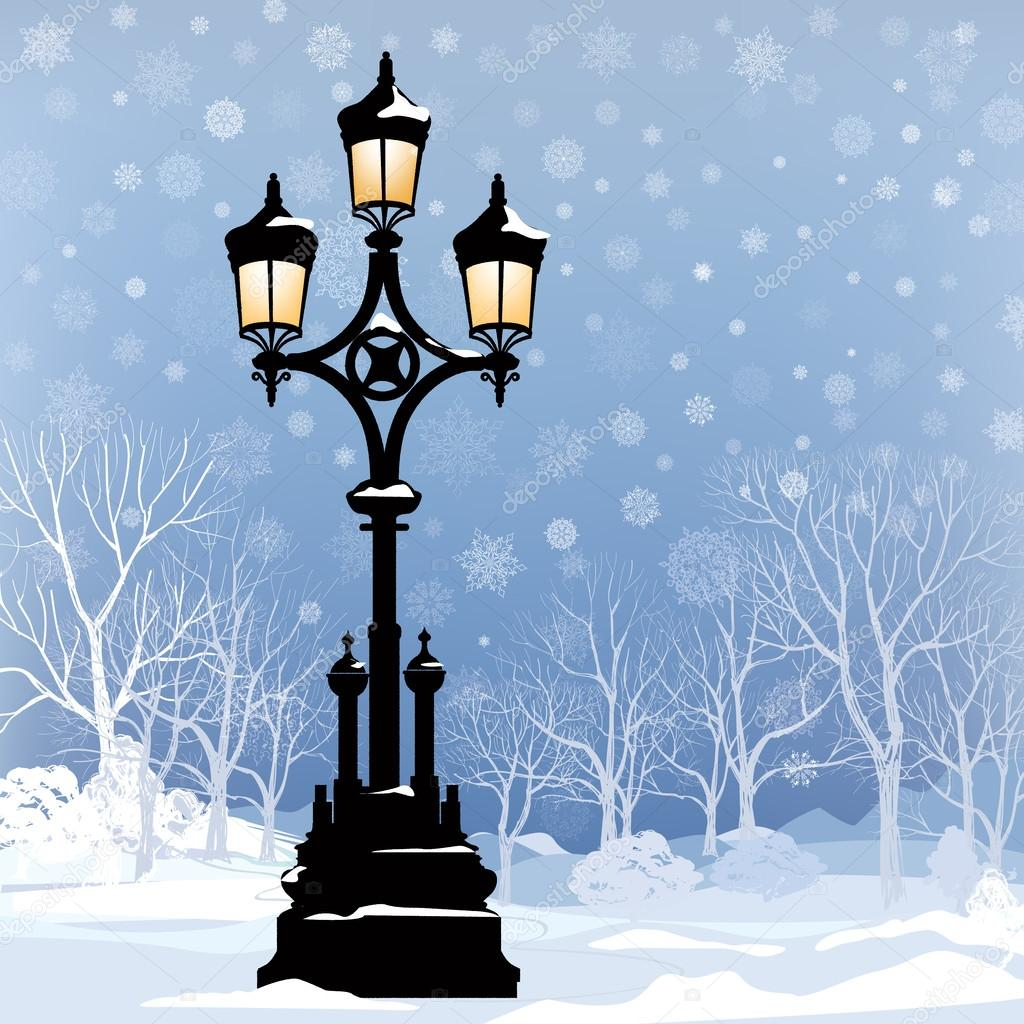 Winter Landscape with luminous street lantern