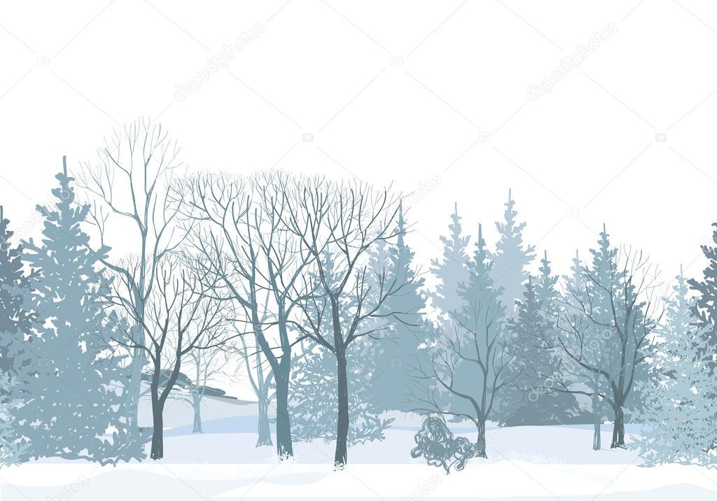 Christmas snow trees border.
