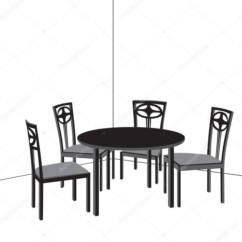 Tisch und Stühle. Wohnzimmer Gestaltung — Stockvektor © YokoDesign ...
