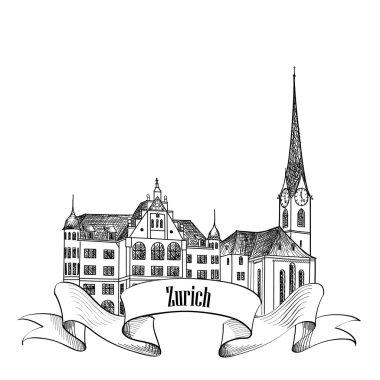Zurich City landmark label.