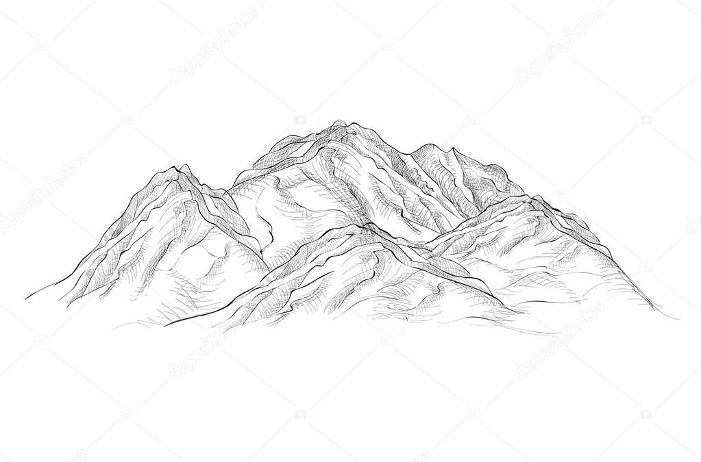 Engraving Mountains sketch
