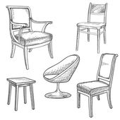 Furniture set. Interior detail isolated