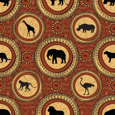 African animals.  seamless pattern