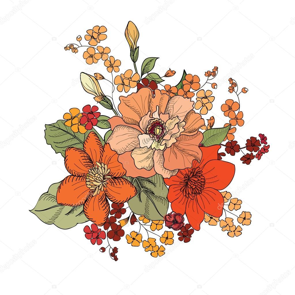花の花束イラスト ストックベクター Yokodesign 75204041
