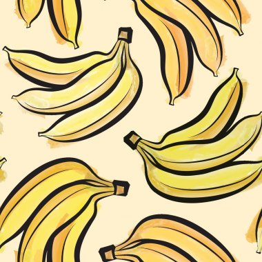 Banana watercolor seamless pattern