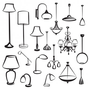 Lamp furniture silhouettes set