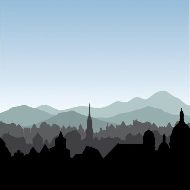 Buildings silhouette cityscape