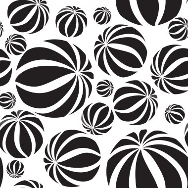 Abstract striped balls seamless pattern