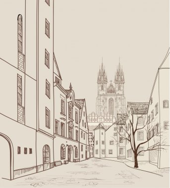 Prague street with cathedral