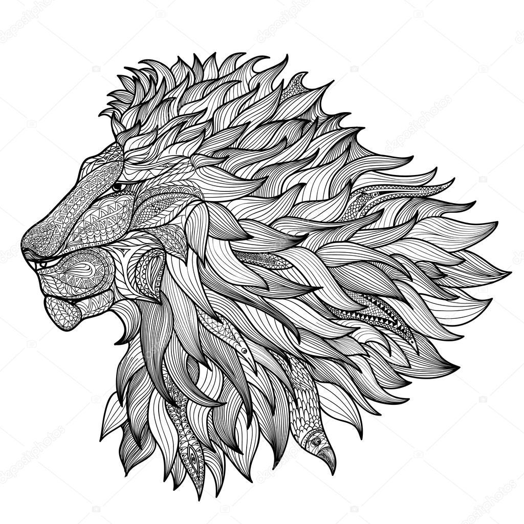 Kleurplaat Voor Grote Mensen Paard Lion Isol 233 E Animaux Zentangle Image Vectorielle