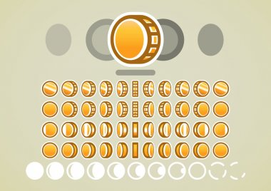 Animation of gold coins for video games