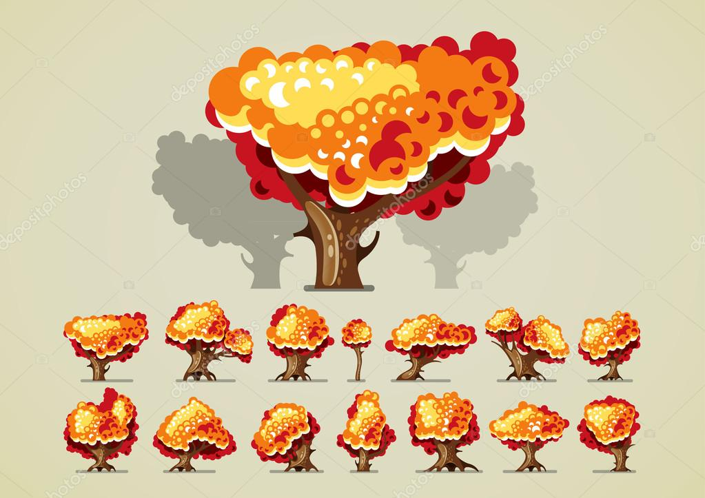 Set of trees in autumn for video games