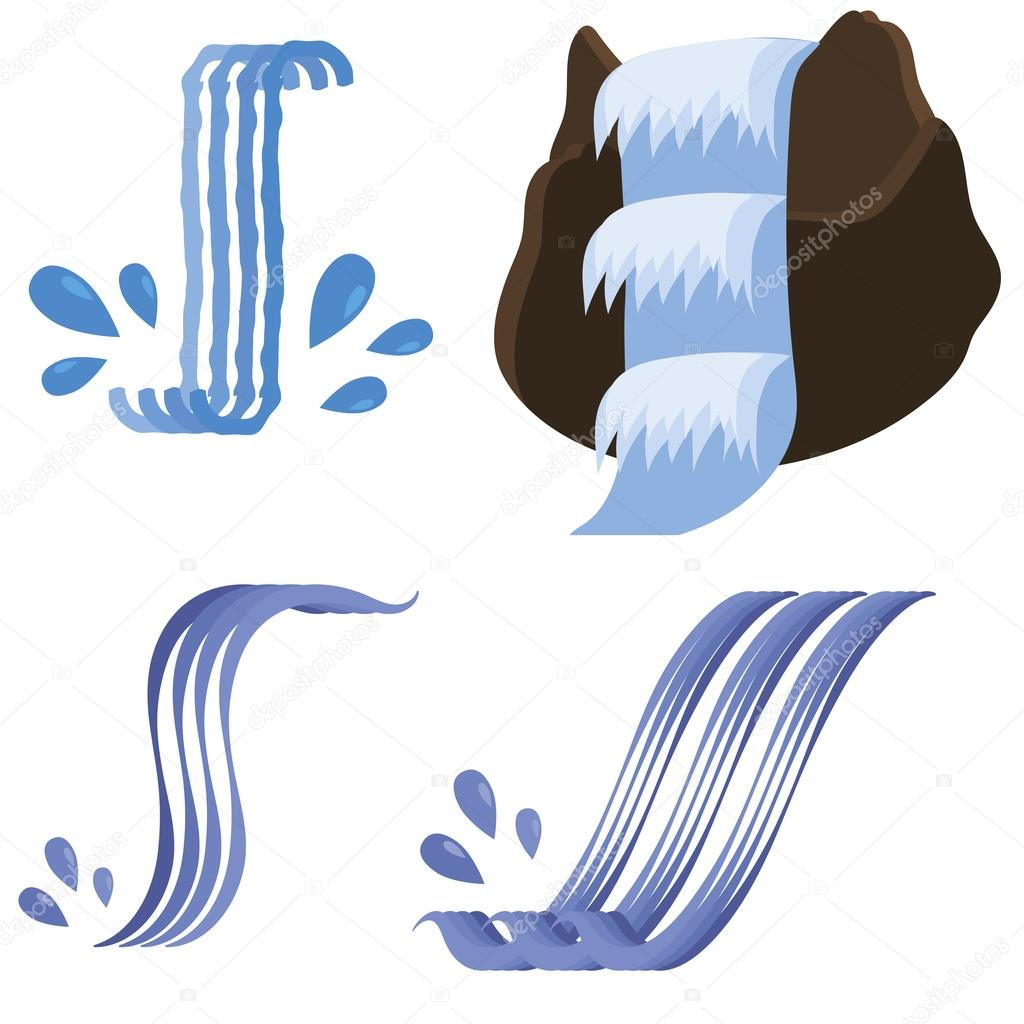 Set of Different Waterfalls Icons