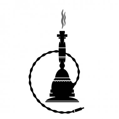Arabic Hookah Silhouette Isolated on White Background. icon