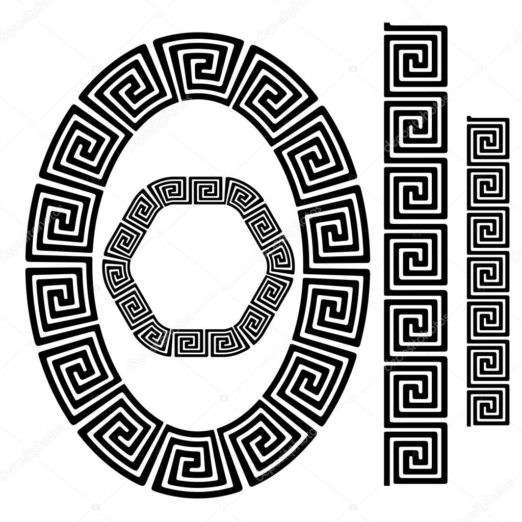 Vettore greche cornici set di cornici greca decorativa for Greche decorative