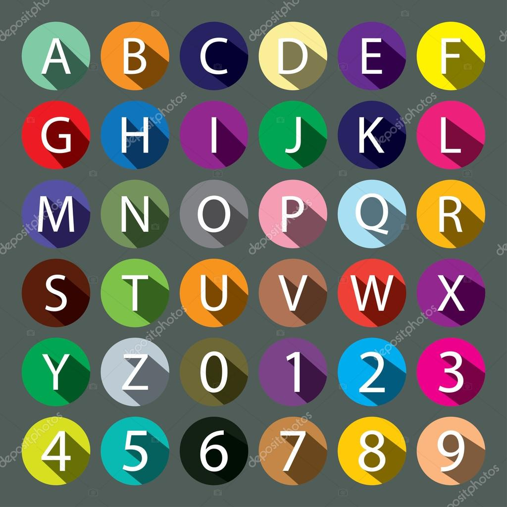 Alphabet And Numbers With Long Shadows Stock Vector Lappenno2
