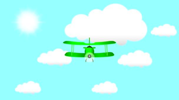 Létající kreslený letadlo s slunce a mraky