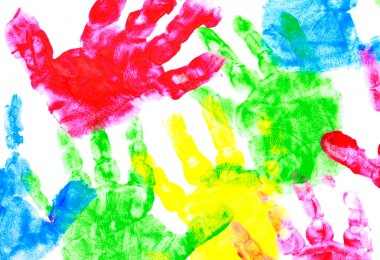 Multicolored painted hand prints on a white background