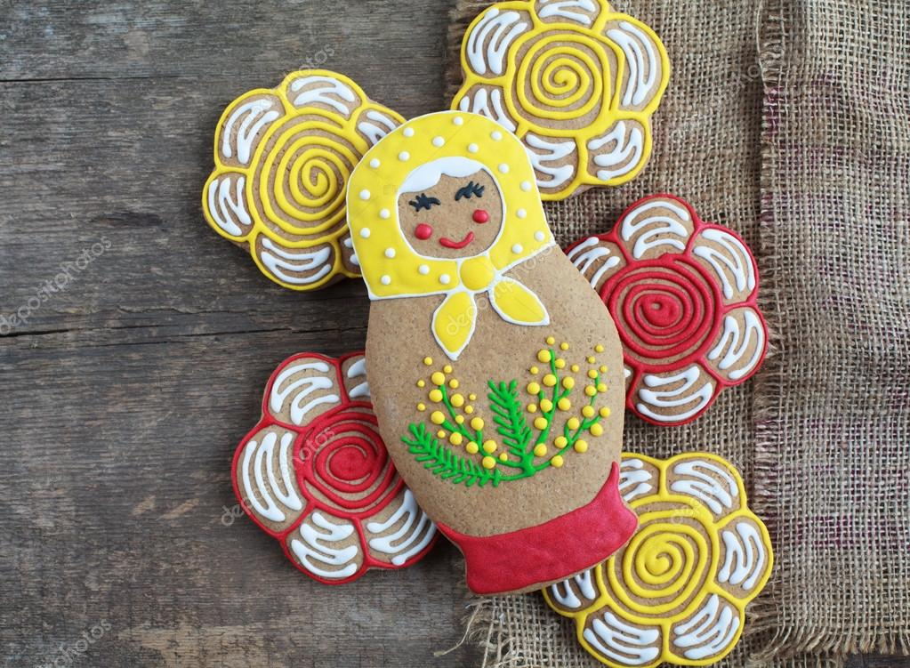 Edible homemade gingerbread as a traditional Russian nesting dol