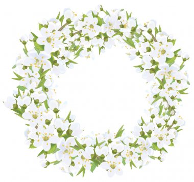 Floral frame with blossoming branches