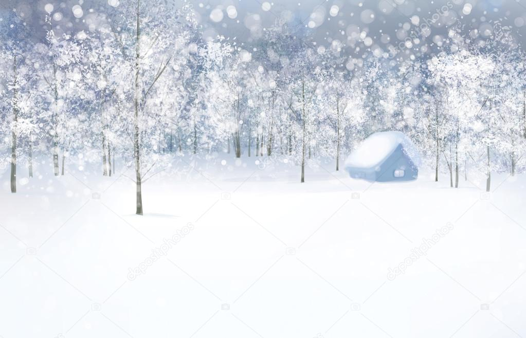 Winter scene with house in forest.