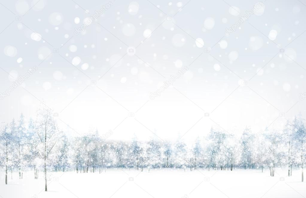 Vector of winter scene with forest