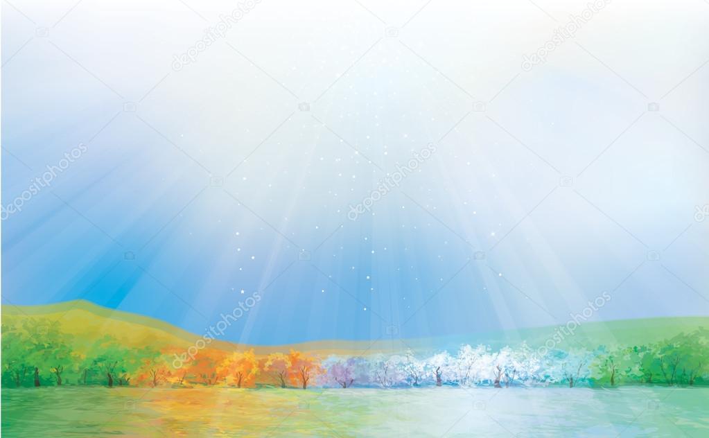 Four seasons landscape.