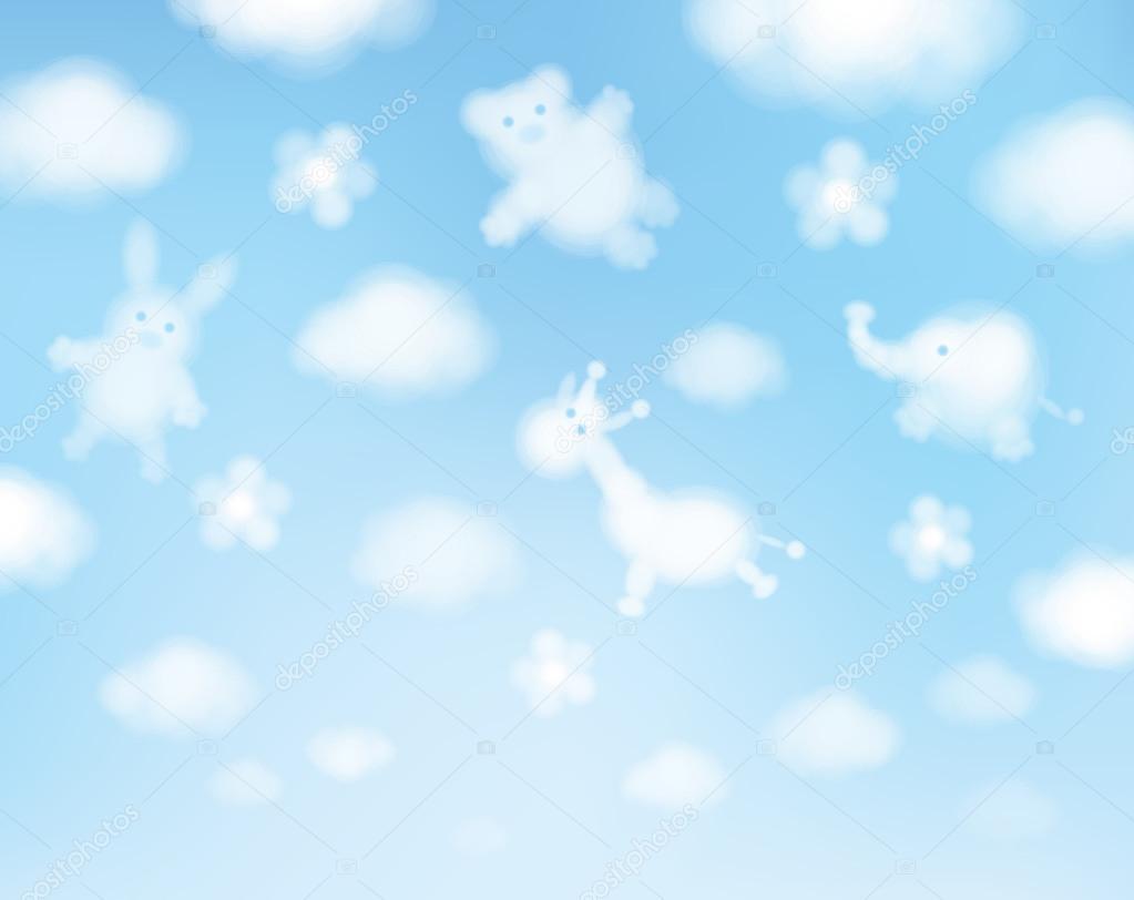 Animals cartoons on sky background