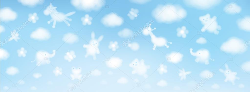 Cute animals on sky background