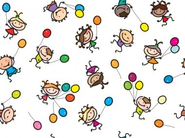 Multi-ethnic kids with balloons