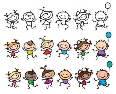 Dancing multi-ethnic kids cartoon