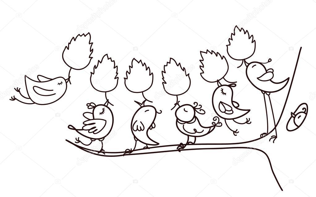 aves de siluetas con hojas — Vector de stock © rvika #89764340
