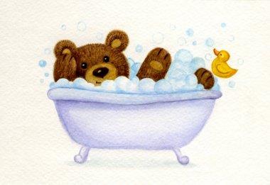 Bathing baby bear