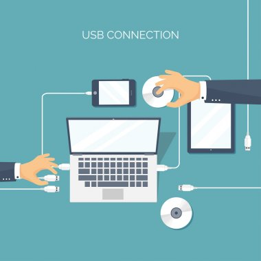 Vector illustration. Usb connection. Computer, tablet, smartphone. Cable.