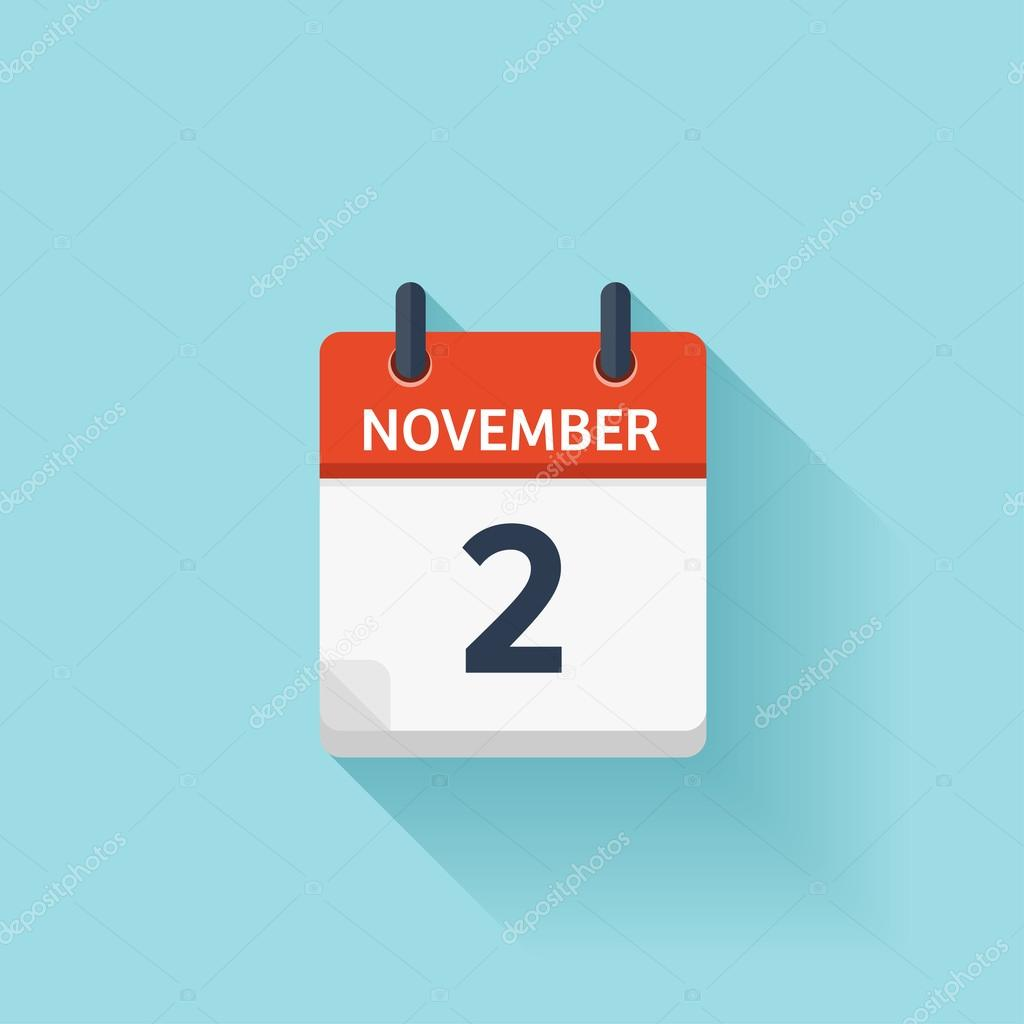 november 2 vector flat daily calendar icon date and time day