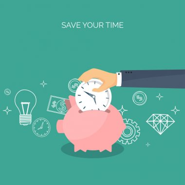 Vector illustration. Flat saving money concept background. Piggy bank, coins. Time is money.