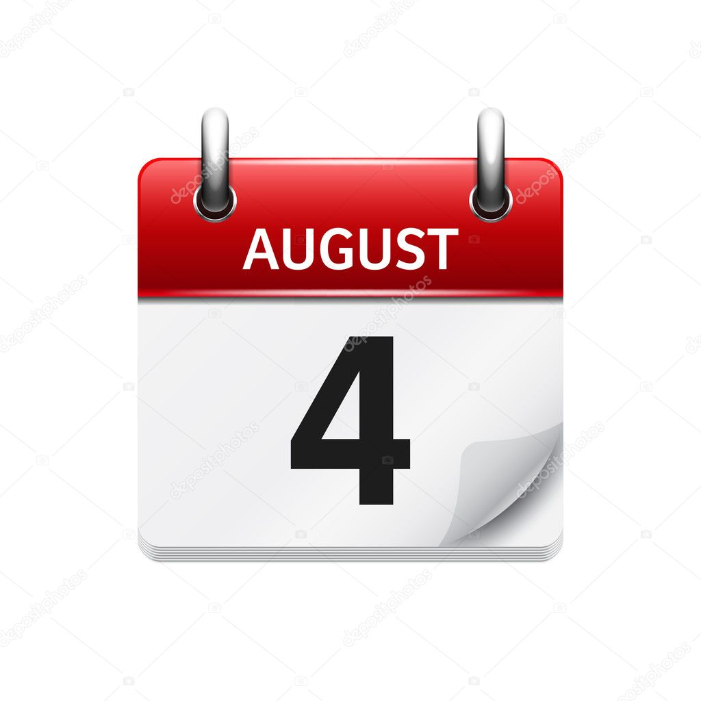 Daily Calendar Icon : August vector flat daily calendar icon date and time