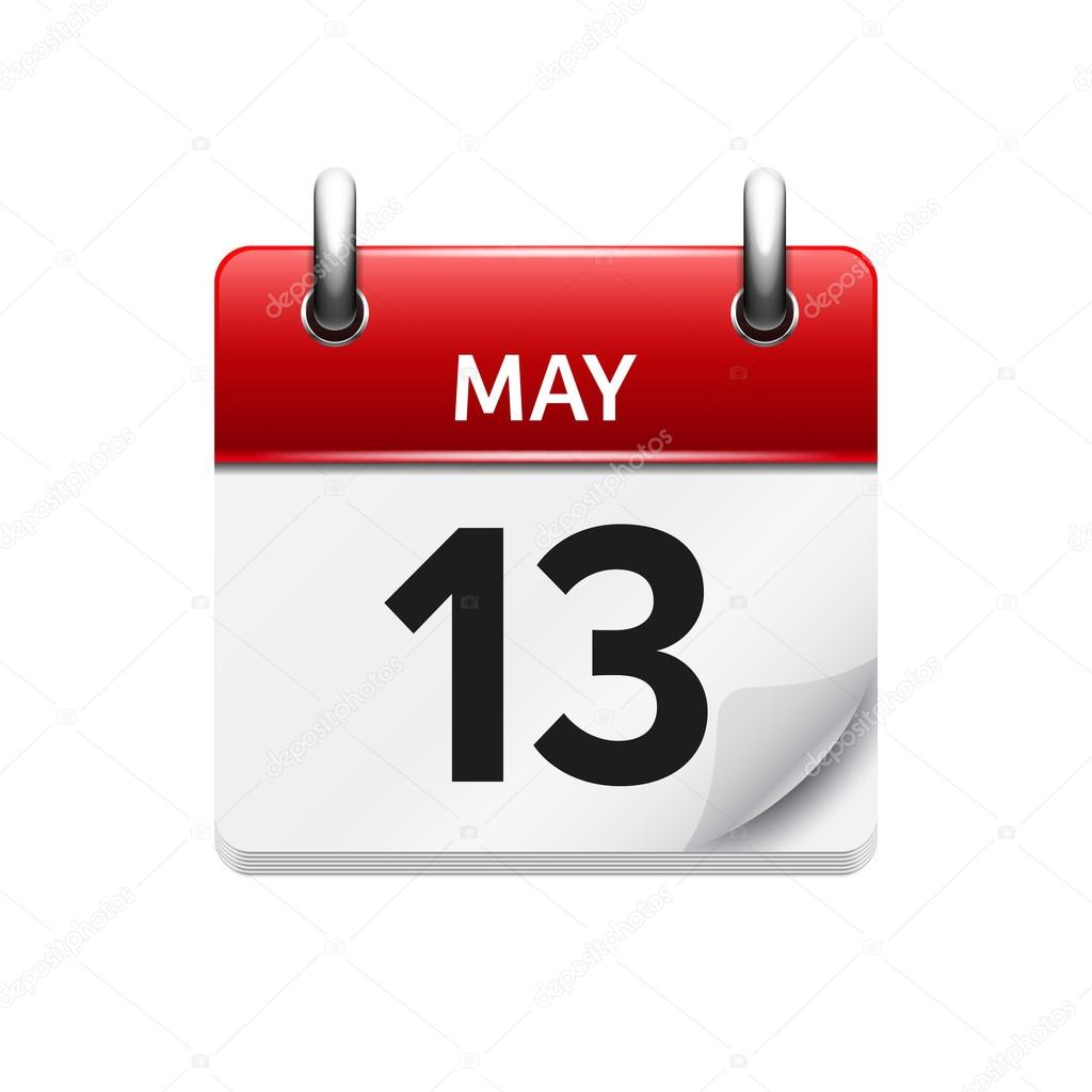May 13. Vector flat daily calendar icon. Date and time, day, month ...