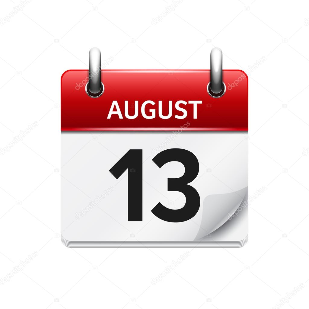 Daily Calendar Clipart : August vector flat daily calendar icon date and time