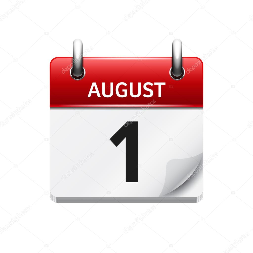 August Vector Flat Daily Calendar Icon Date And Time Day Month - August 1