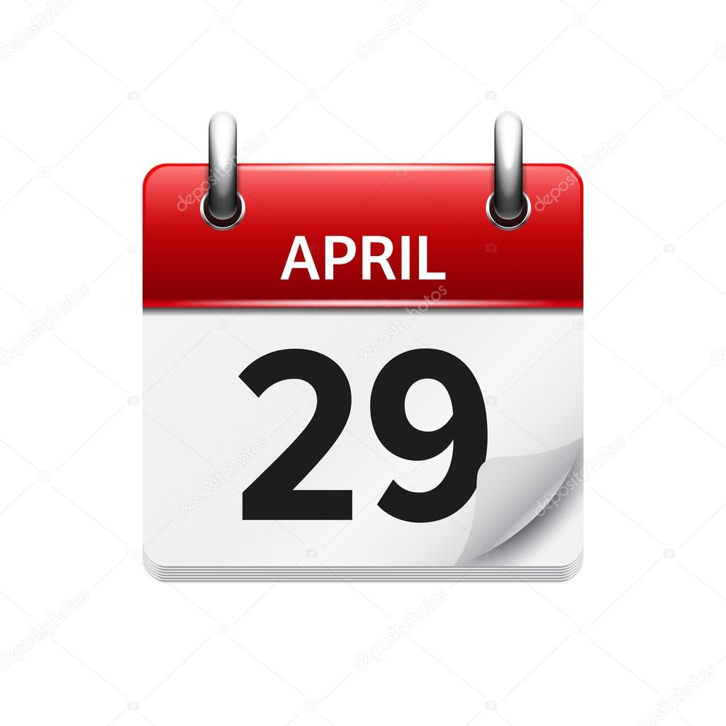 April 29. Vector flat daily calendar icon. Date and time, day ...